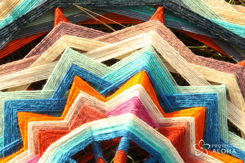Mandala de lana detalle
