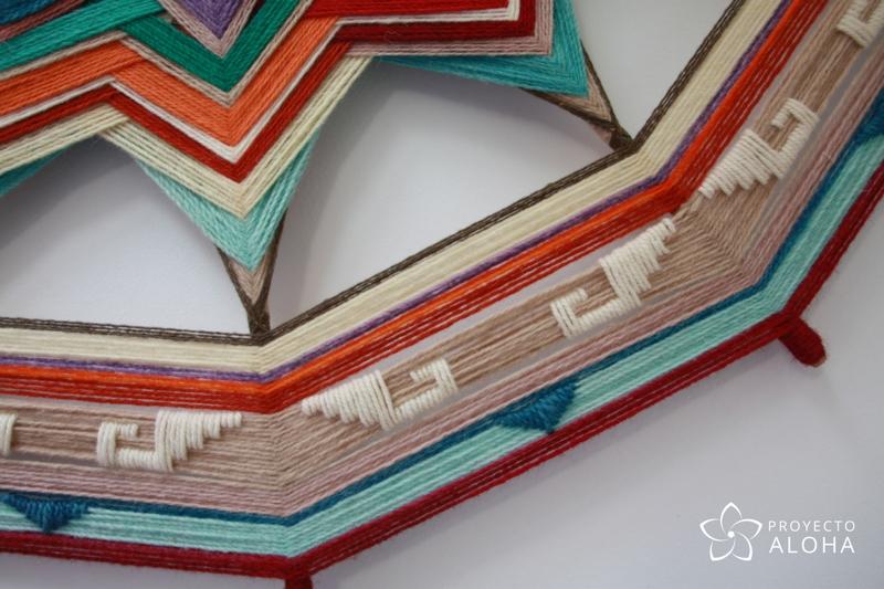 Urubamba mandala de lana, detalles bordado