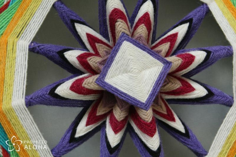 Mandala de lana detalle centro