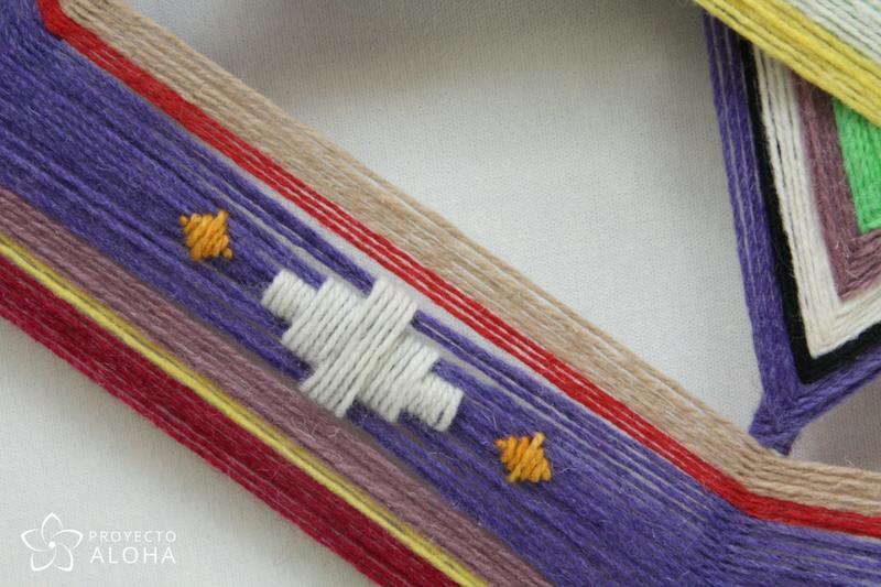 mandala de lana detalle bordado